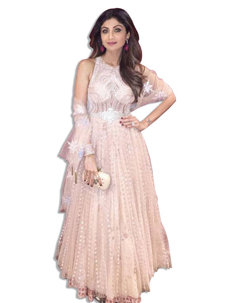 SHILPA SHETTY BLUSH EMBROIDERED GOWN