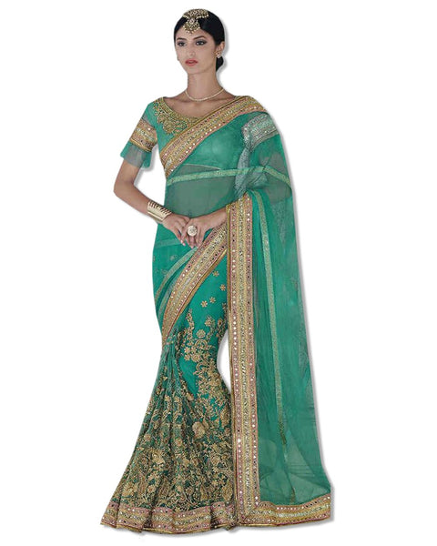 Sea Green Georgette Embroidered Sari