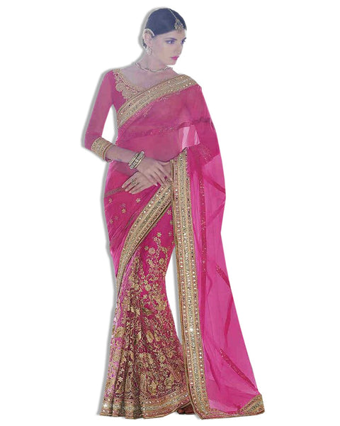 Pink Georgette Embroidered Sari