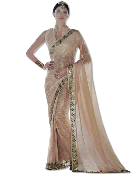 Blush Georgette Embroidered Sari