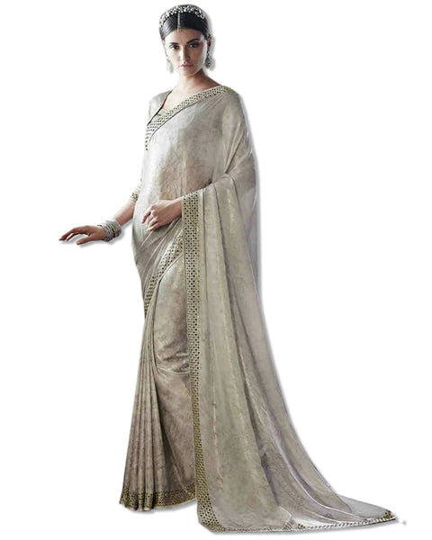 Grey Georgette Embroidered Sari