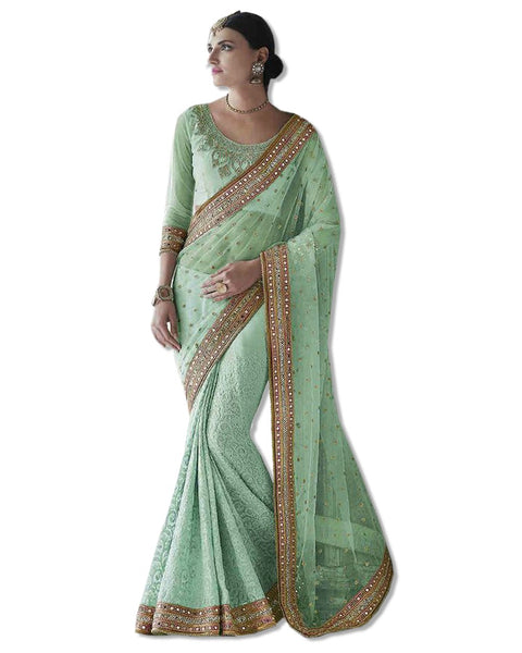 Green Georgette Embroidered Sari