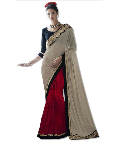 Red Georgette Embroidered Sari