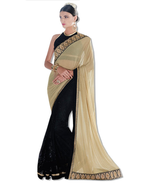 Black Georgette Embroidered Sari