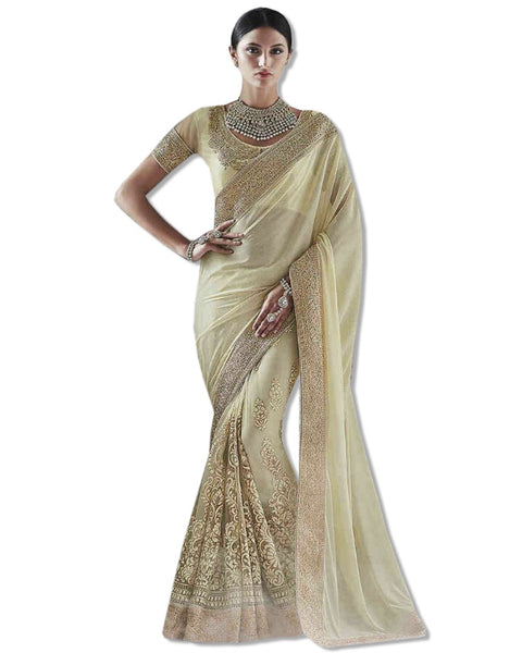Beige Georgette Embroidered Sari