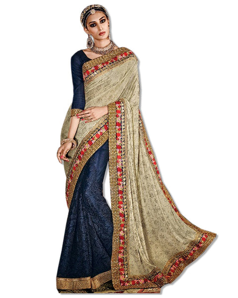 NAVY DESIGN LACE SARI