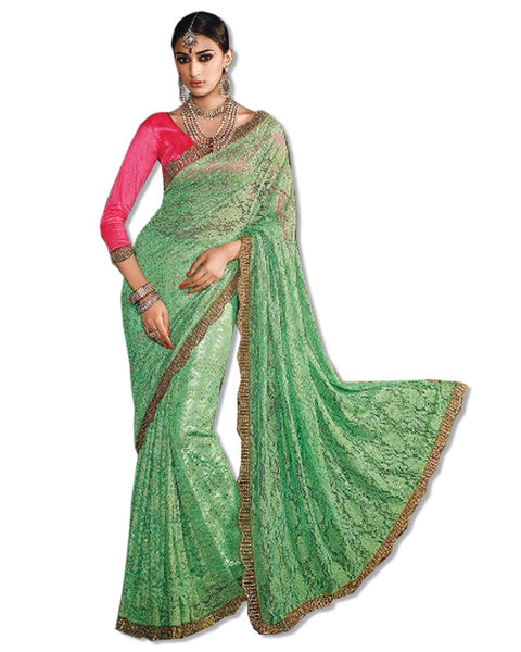 GREEN DESIGN LACE EMBROIDERED SARI