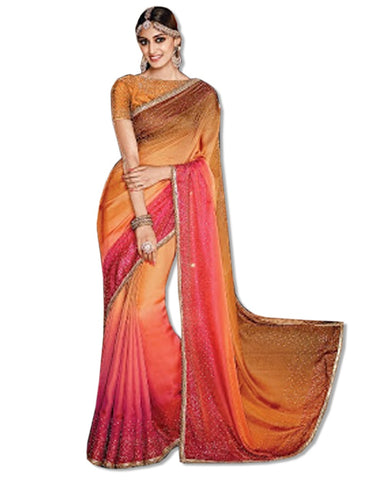 CORAL GEORGETTE EMBROIDERED SARI