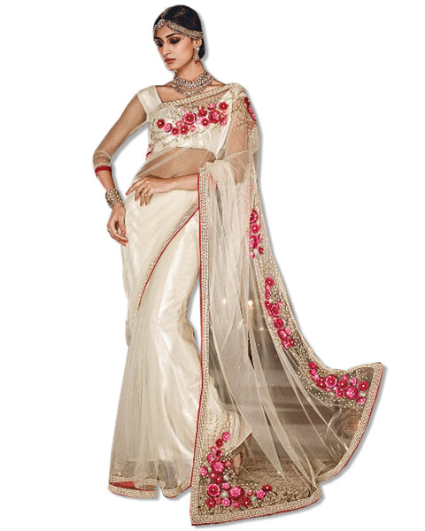 OFF WHITE NET EMBROIDERED SARI