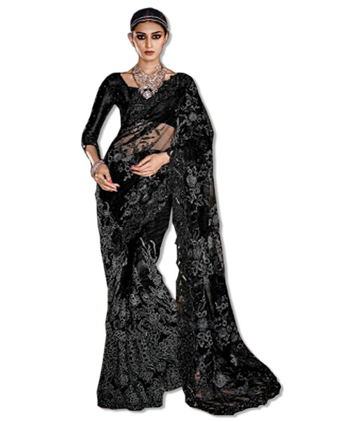 BLACK DESIGN LACE SARI