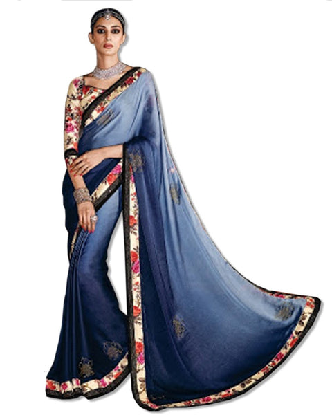 BLUE CREPE EMBROIDERED SARI