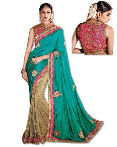 SEA GREEN CREPE EMBROIDERED SARI