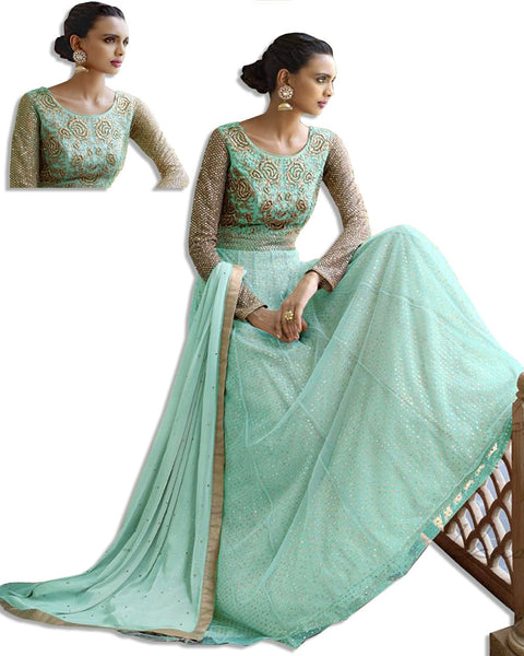 SKY BLUE EMBROIDERED LONG DRESS SUIT