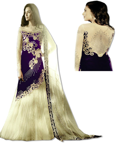 PURPLE GOLD EMBROIDERED DRESS