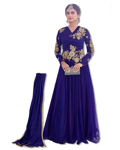 ROYAL BLUE EMBROIDERED FLOOR LENGTH DRESS