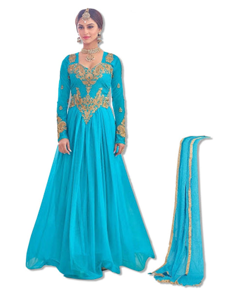 TURQUOISE EMBROIDERED FLOOR LENGTH DRESS