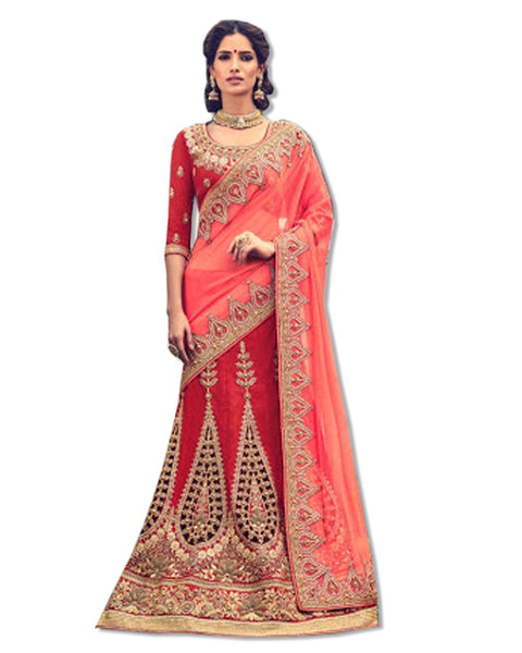 RED EMBROIDERED LAHENGA