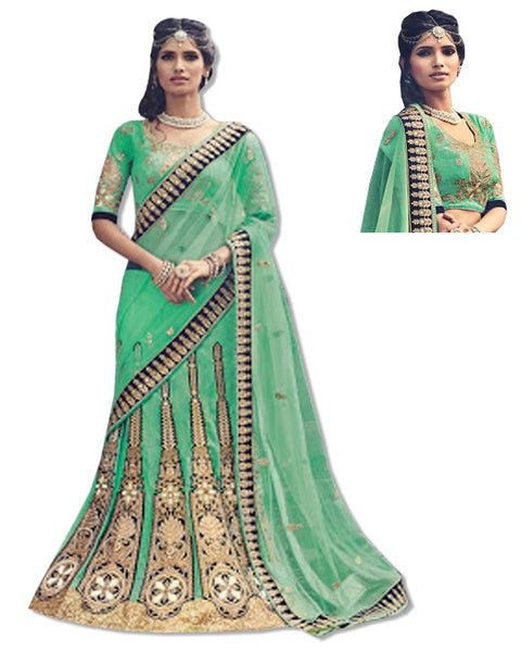 GREEN EMBROIDERED LAHENGA