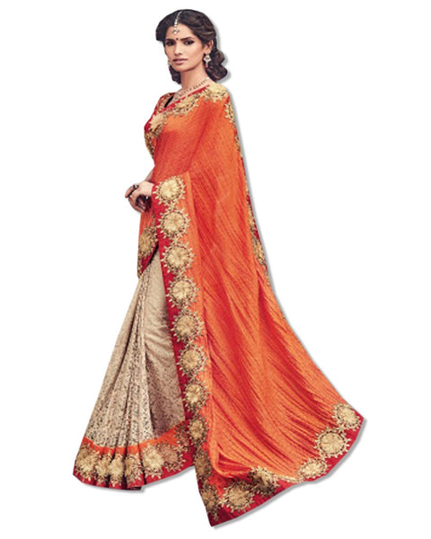 CORAL EMBROIDERED DESIGNER SARI