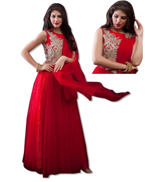 RED CRYSTAL EMBROIDERED GOWN