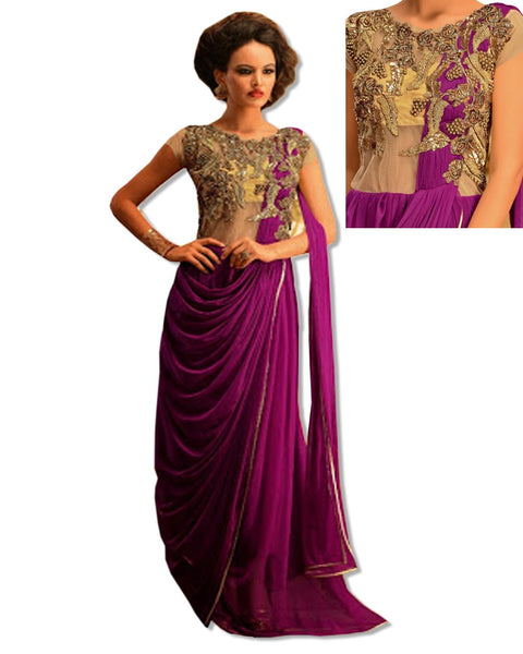PURPLE  CRYSTAL EMBROIDERED GOWN