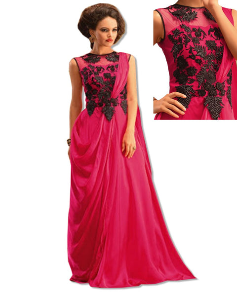 HOT PINK CRYSTAL EMBROIDERED GOWN