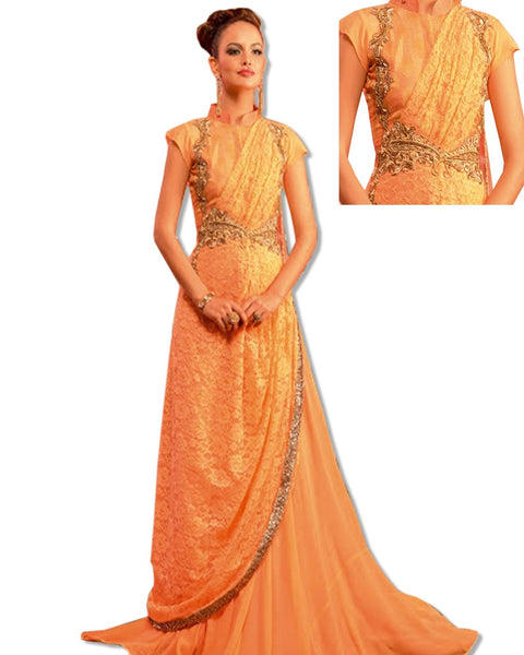 CORAL CRYSTAL EMBROIDERED GOWN