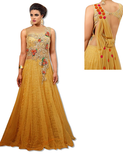 GOLD CRYSTAL EMBROIDERED GOWN