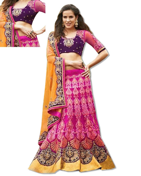 CORAL PINK/GOLDEN EMBROIDERED DESIGNER LAHENGA