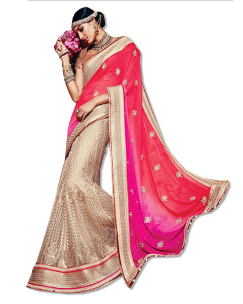 GOLD AND CORAL  EMBROIDERED SARI