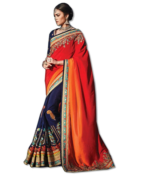 CORAL AND NAVY  EMBROIDERED SARI