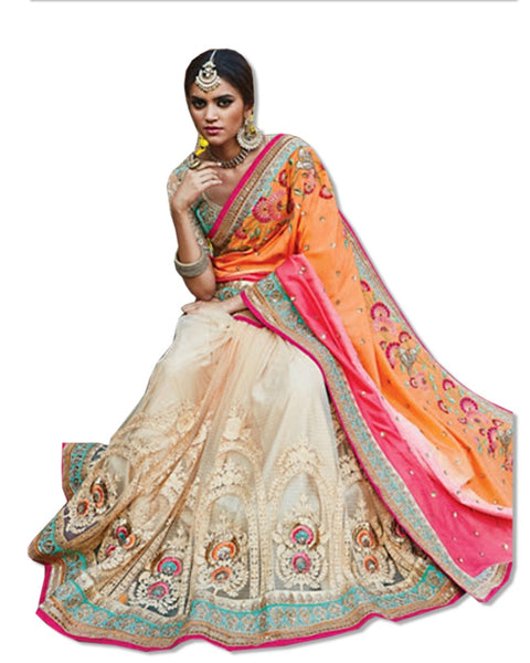 OFFWHITE AND CORAL  EMBROIDERED SARI