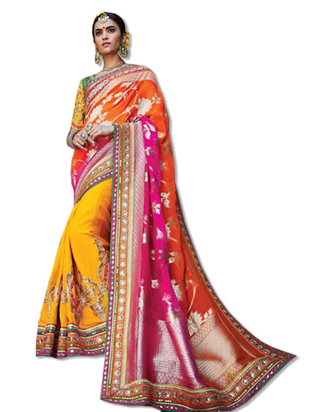 CORAL  EMBROIDERED SARI