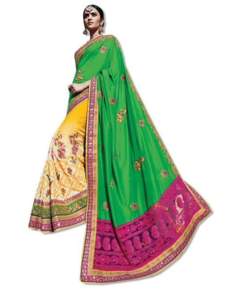 GREEN AND YELLOW  EMBROIDERED SARI