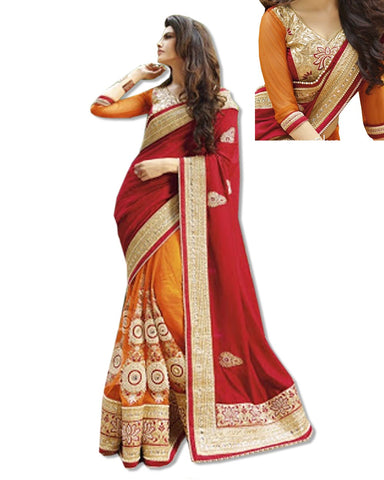 RED AND CORAL  EMBROIDERED SARI