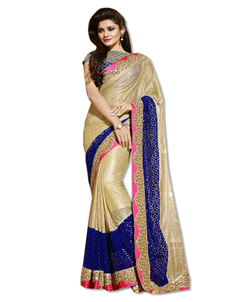 GOLD AND ROYAL BLUE EMBROIDERED SARI