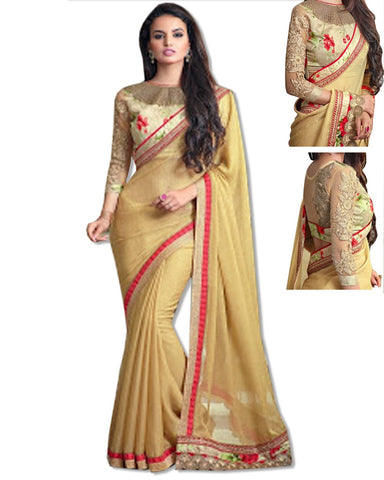 GOLD  EMBROIDERED SARI