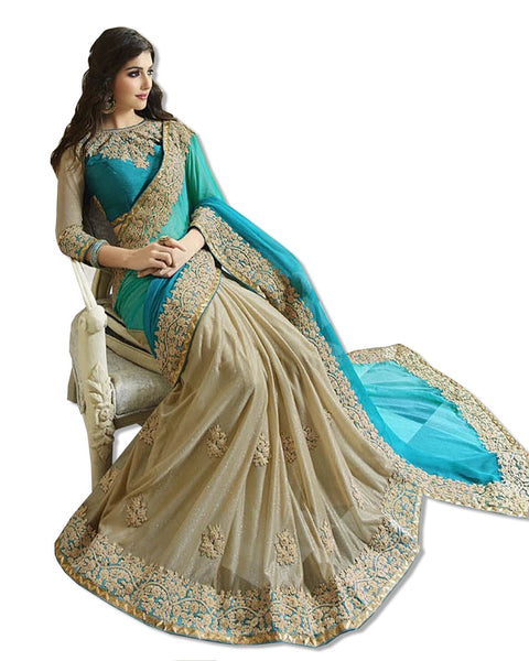 TURQUOISE AND GOLD EMBROIDERED SARI
