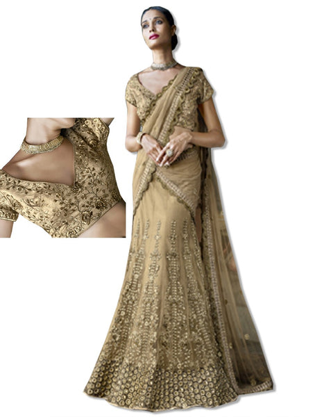 BEIGE AND FUSCHIA  EMBROIDERED SARI