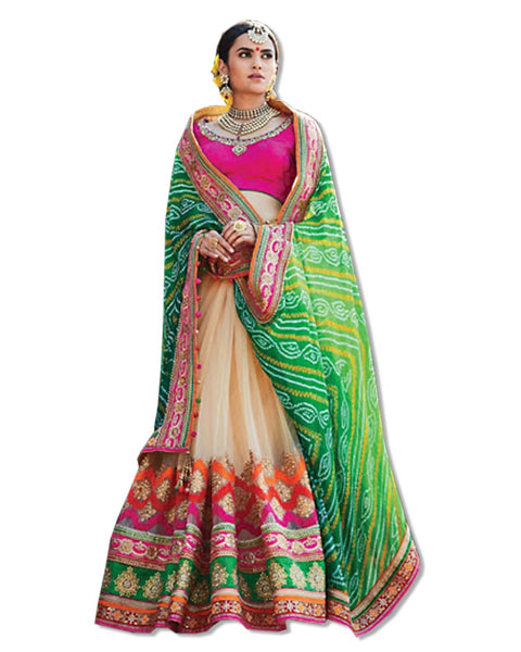 GREEN AND OFF WHITE EMBROIDERED SARI