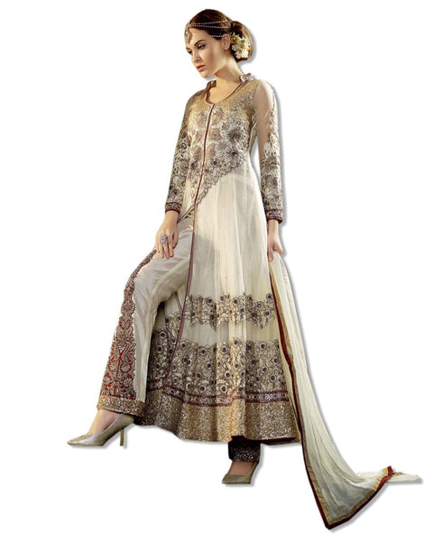 GEORGETTE EMBROIDERED FLOOR LENGTH BEIGE DRESS