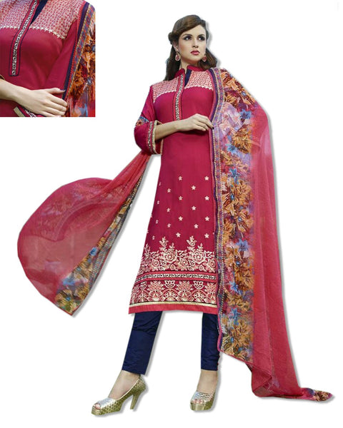 GEORGETTE EMBROIDERED RED SUIT