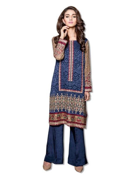 GEORGETTE EMBROIDERED NAVY BLUE SUIT
