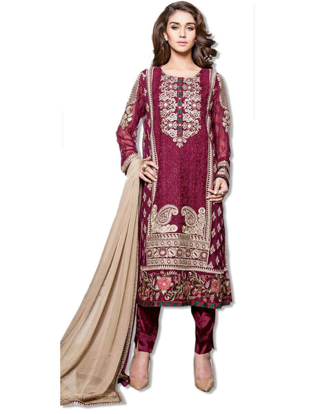 GEORGETTE EMBROIDERED BURGUNDY SUIT