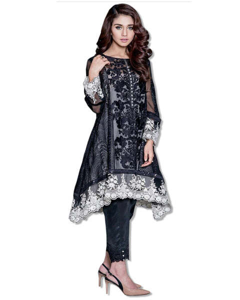 GEORGETTE EMBROIDERED BLACK SUIT