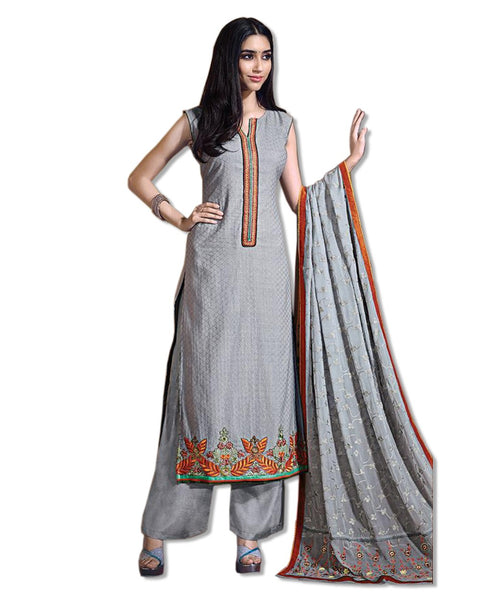 GEORGETTE EMBROIDERED GREY SUIT