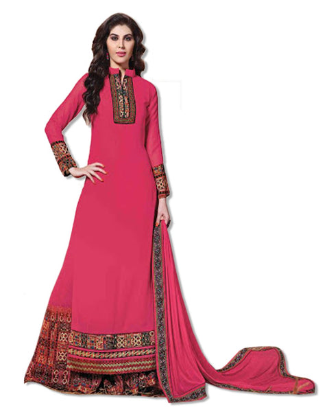 GEORGETTE EMBROIDERED FUSCHIA SUIT