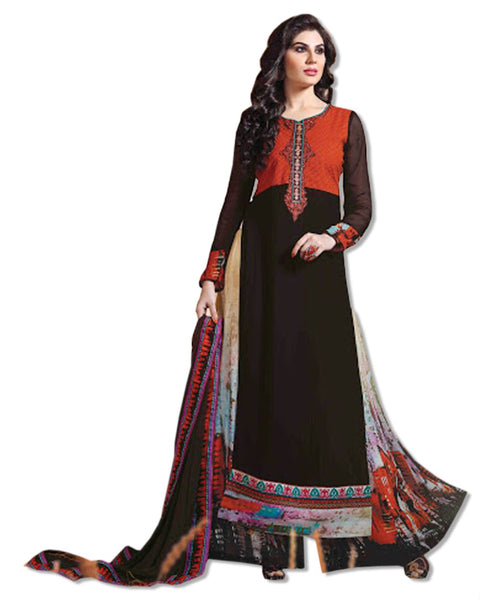 GEORGETTE EMBROIDERED BROWN  SUIT