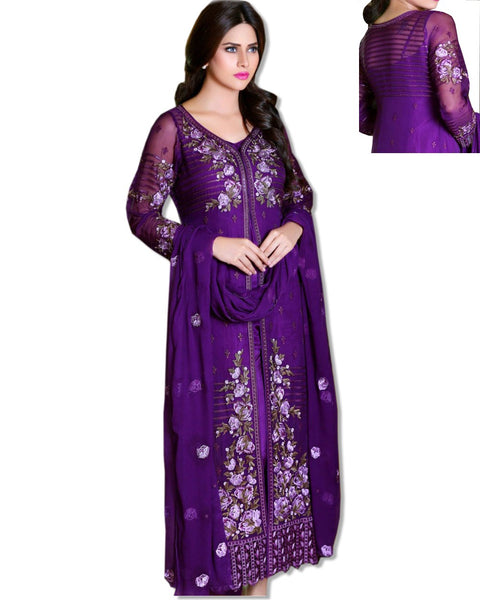 GEORGETTE EMBROIDERED PURPLE SUIT