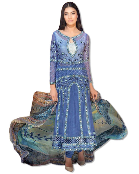 GEORGETTE EMBROIDERED BLUE SUIT